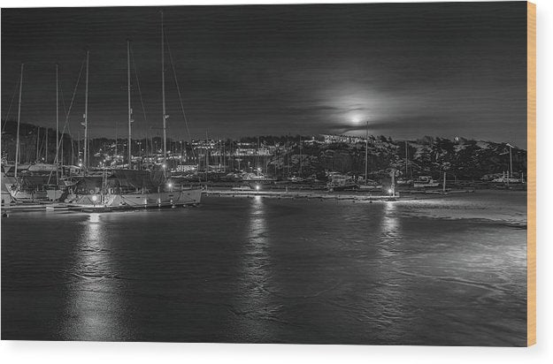 Boats At Night During Low Tide - Wood Print from Wallasso - The Wall Art Superstore