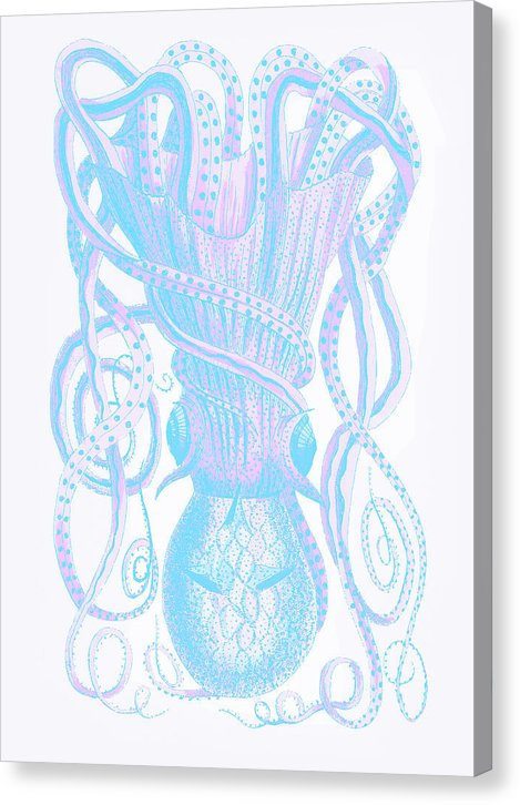 Boho Blue And Pink Pop Art Granulated Cuttlefish - Canvas Print from Wallasso - The Wall Art Superstore
