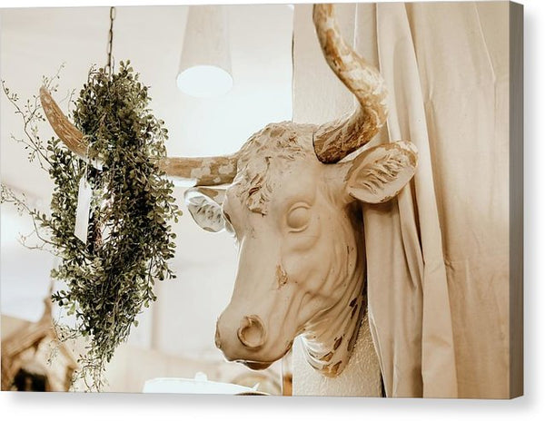 Boho Cow Head Sculpture With Wreath - Canvas Print from Wallasso - The Wall Art Superstore