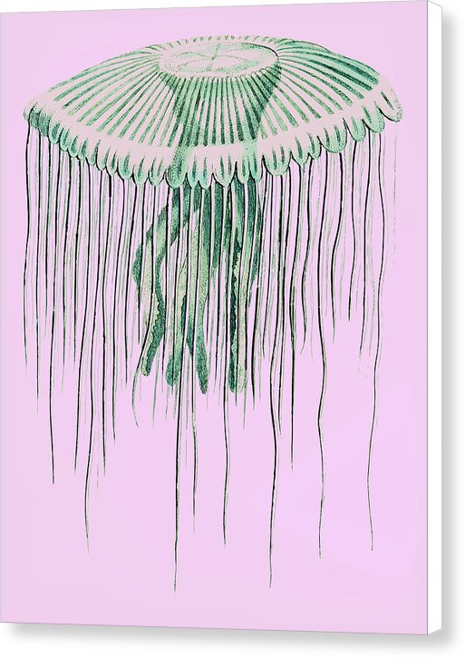 Boho Pink and Green Pop Art Jellyfish - Canvas Print from Wallasso - The Wall Art Superstore