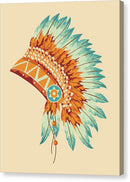 Boho Turquoise Native American Headdress - Canvas Print from Wallasso - The Wall Art Superstore