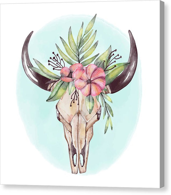 Boho Watercolor Cow Skull With Floral Crown - Canvas Print from Wallasso - The Wall Art Superstore