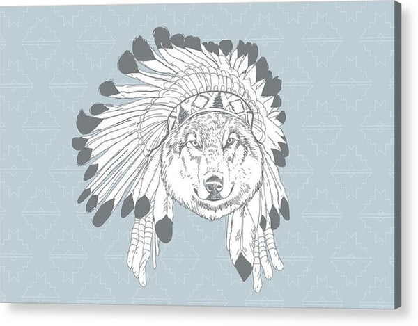 Boho Wolf In Native American Headdress - Acrylic Print from Wallasso - The Wall Art Superstore