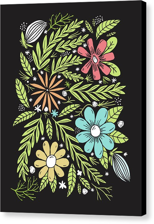 Botanical Boho Doodle Design - Canvas Print from Wallasso - The Wall Art Superstore