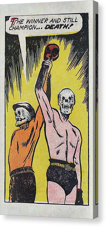 Boxing Skeleton Declared Winner And Champion, Vintage Comic Book - Canvas Print from Wallasso - The Wall Art Superstore