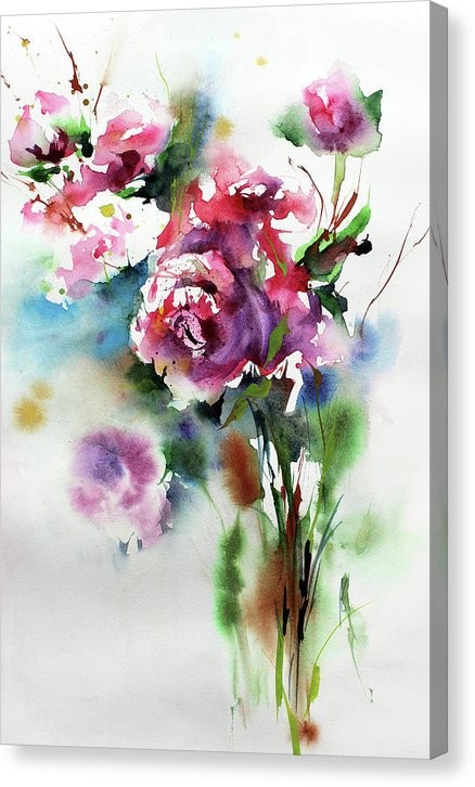 Bouquet of Pink Flowers, Watercolor Painting - Canvas Print from Wallasso - The Wall Art Superstore