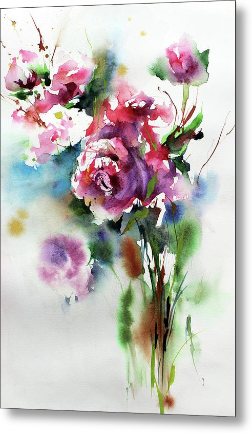 Bouquet of Pink Flowers, Watercolor Painting - Metal Print from Wallasso - The Wall Art Superstore