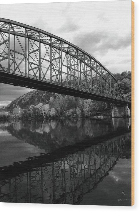 Bridge Reflected In River - Wood Print from Wallasso - The Wall Art Superstore