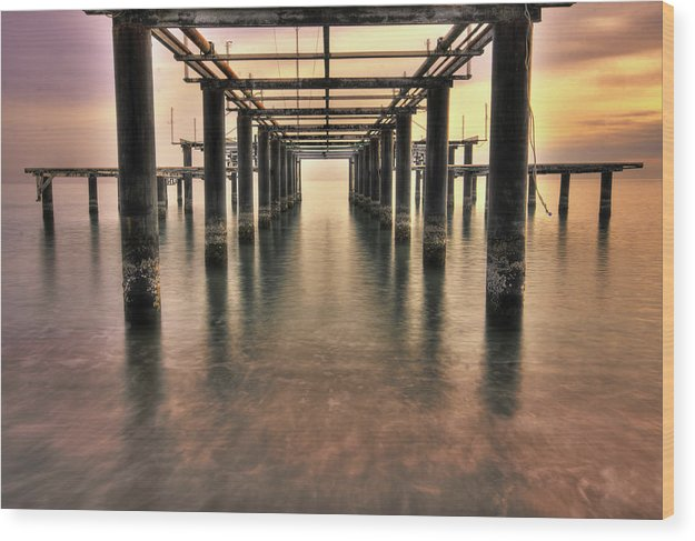 Brilliant Sky Behind Rusty Remains of Old Pier - Wood Print from Wallasso - The Wall Art Superstore