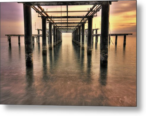 Brilliant Sky Behind Rusty Remains of Old Pier - Metal Print from Wallasso - The Wall Art Superstore