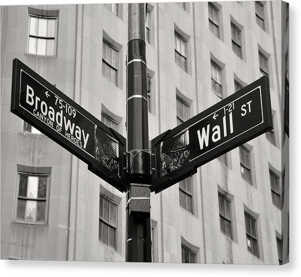 Broadway and Wall Street Signs, New York City - Canvas Print from Wallasso - The Wall Art Superstore