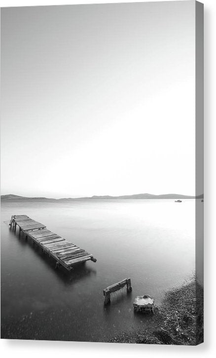 Broken Remains of Boardwalk In Lake - Canvas Print from Wallasso - The Wall Art Superstore