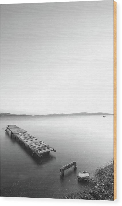 Broken Remains of Boardwalk In Lake - Wood Print from Wallasso - The Wall Art Superstore