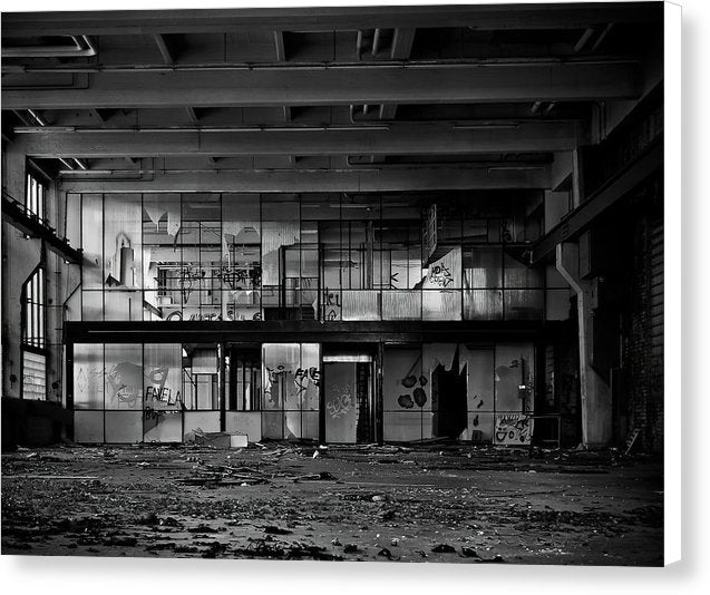 Broken Windows Inside Abandoned Factory - Canvas Print from Wallasso - The Wall Art Superstore