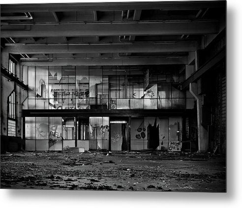 Broken Windows Inside Abandoned Factory - Metal Print from Wallasso - The Wall Art Superstore