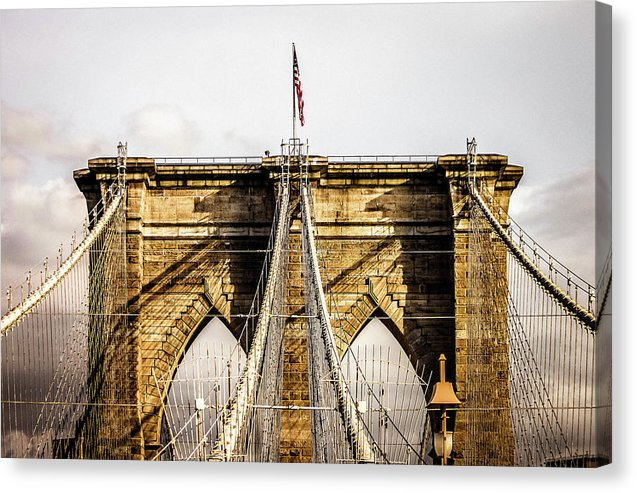 Brooklyn Bridge American Flag, New York City - Canvas Print from Wallasso - The Wall Art Superstore
