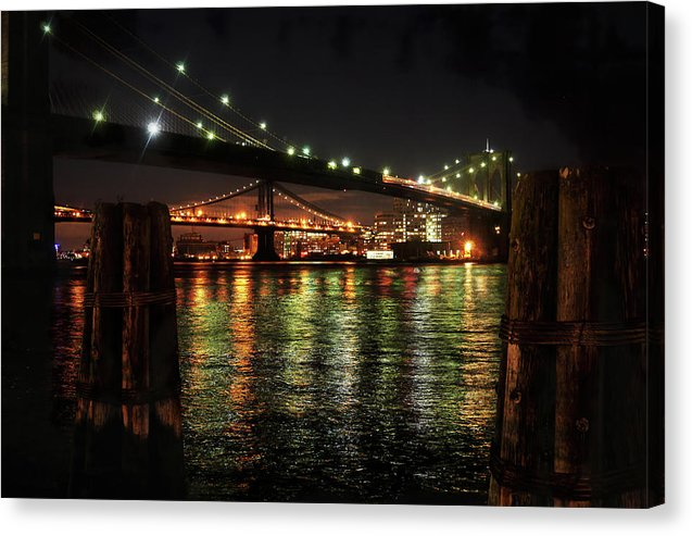 Brooklyn Bridge and Manhattan Bridge At Night - Canvas Print from Wallasso - The Wall Art Superstore