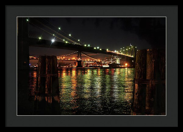 Brooklyn Bridge and Manhattan Bridge At Night - Framed Print from Wallasso - The Wall Art Superstore