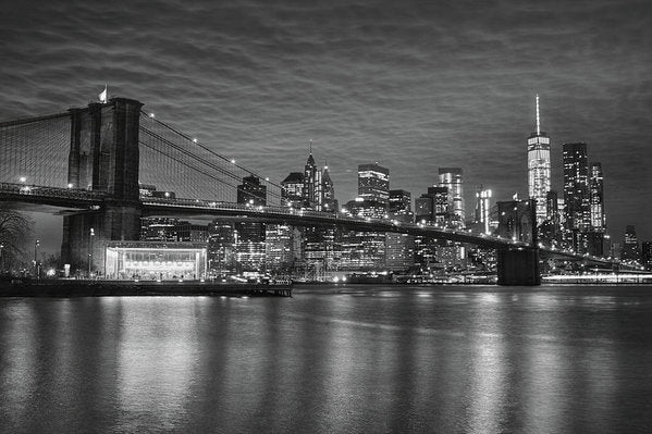 Brooklyn Bridge and New York City Skyline Reflected In Water - Art Print from Wallasso - The Wall Art Superstore