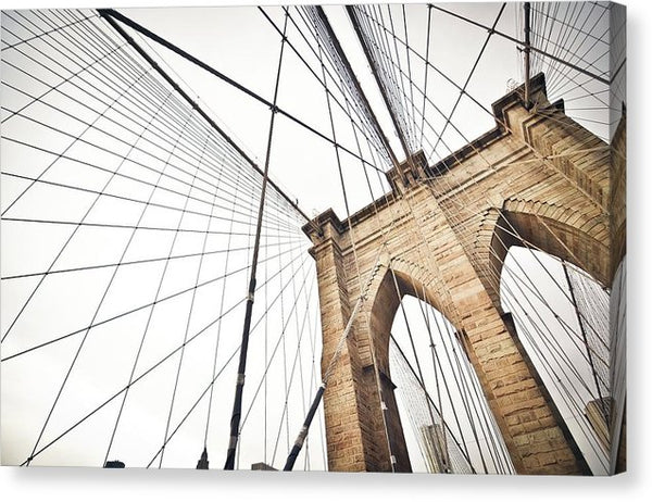 Brooklyn Bridge Angled Up, New York City - Canvas Print from Wallasso - The Wall Art Superstore