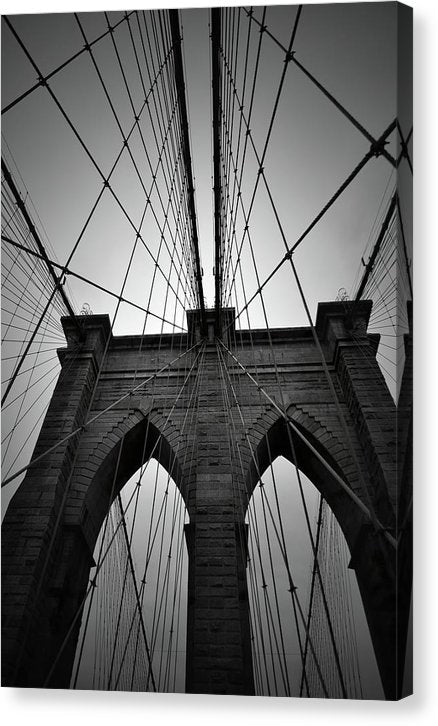 Brooklyn Bridge Looking Up, New York City - Canvas Print from Wallasso - The Wall Art Superstore