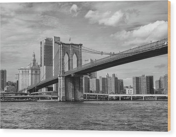 Brooklyn Bridge With New York City Behind - Wood Print from Wallasso - The Wall Art Superstore