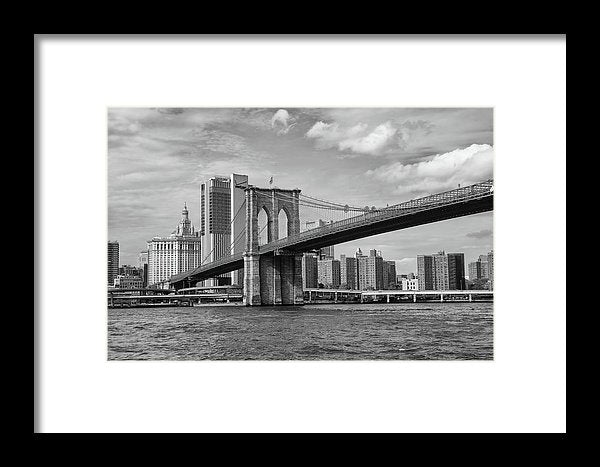 Brooklyn Bridge With New York City Behind - Framed Print from Wallasso - The Wall Art Superstore