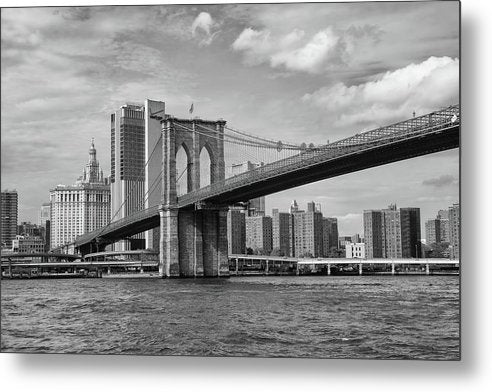 Brooklyn Bridge With New York City Behind - Metal Print from Wallasso - The Wall Art Superstore