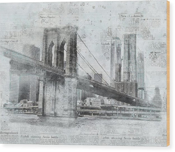 Brooklyn Bridge With Newspaper Print Texture - Wood Print from Wallasso - The Wall Art Superstore