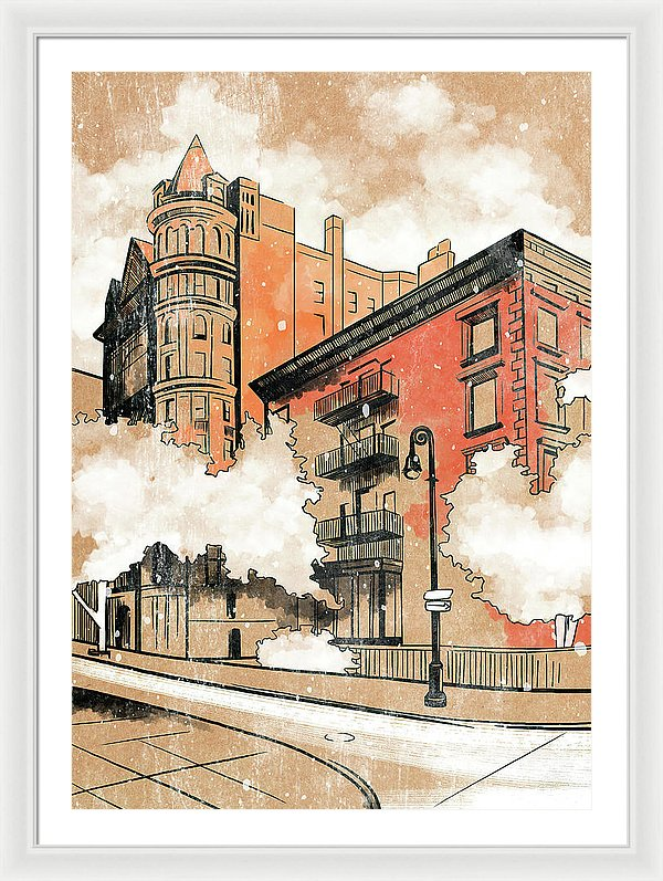 Brooklyn Home Illustration - Framed Print from Wallasso - The Wall Art Superstore