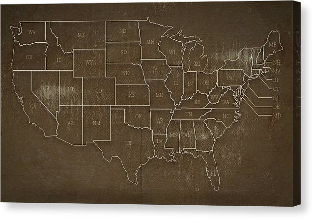 Brown Distressed United States Map Design - Canvas Print from Wallasso - The Wall Art Superstore
