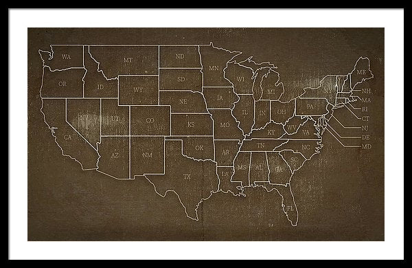 Brown Distressed United States Map Design - Framed Print from Wallasso - The Wall Art Superstore