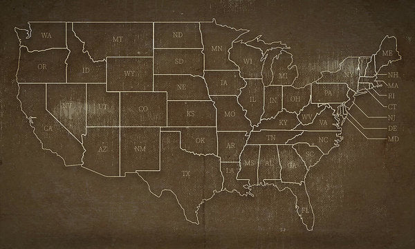 Brown Distressed United States Map Design - Art Print from Wallasso - The Wall Art Superstore