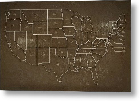 Brown Distressed United States Map Design - Metal Print from Wallasso - The Wall Art Superstore