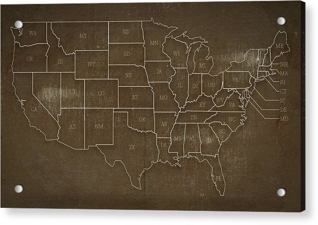 Brown Distressed United States Map Design - Acrylic Print from Wallasso - The Wall Art Superstore