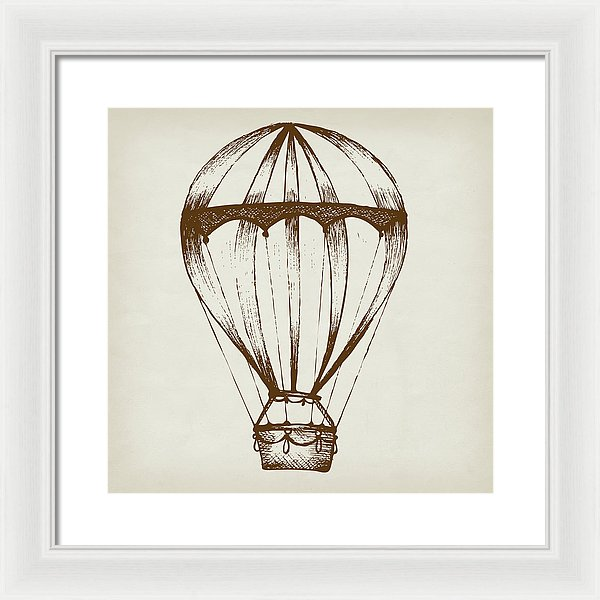 Brown Hot Air Balloon Sketch - Framed Print from Wallasso - The Wall Art Superstore