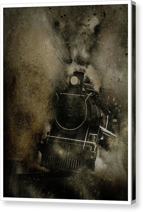 Brown Steam Engine Railroad Design - Canvas Print from Wallasso - The Wall Art Superstore