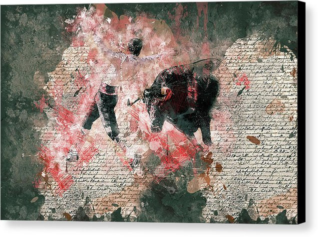 Bullfighter and Bull Decoupage Design - Canvas Print from Wallasso - The Wall Art Superstore
