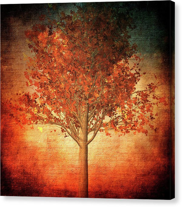 Burnt Orange Tree Design - Canvas Print from Wallasso - The Wall Art Superstore