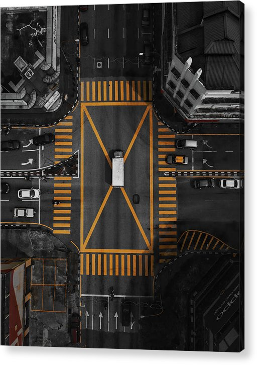 Busy Yellow Crosswalk, Aerial - Acrylic Print from Wallasso - The Wall Art Superstore