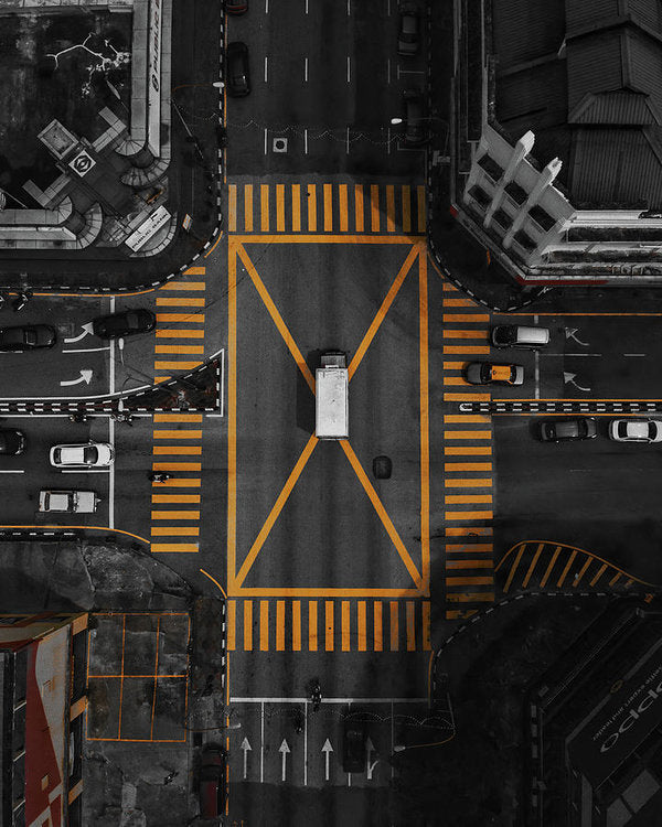 Busy Yellow Crosswalk, Aerial - Art Print from Wallasso - The Wall Art Superstore