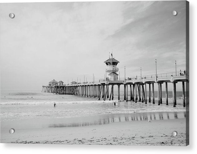 California Pier With Surfers - Acrylic Print from Wallasso - The Wall Art Superstore