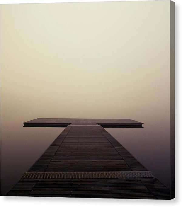 Calm Brown Boardwalk In Fog, Square - Canvas Print from Wallasso - The Wall Art Superstore