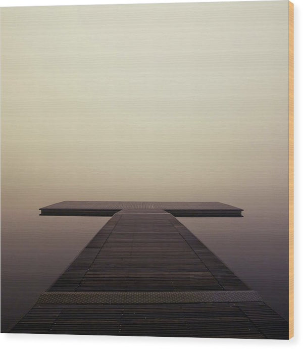 Calm Brown Boardwalk In Fog, Square - Wood Print from Wallasso - The Wall Art Superstore