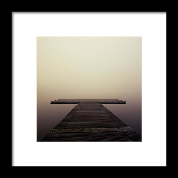 Calm Brown Boardwalk In Fog, Square - Framed Print from Wallasso - The Wall Art Superstore