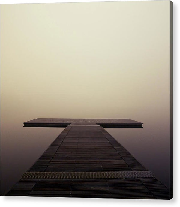Calm Brown Boardwalk In Fog, Square - Acrylic Print from Wallasso - The Wall Art Superstore