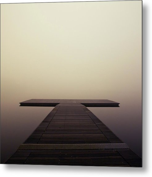 Calm Brown Boardwalk In Fog, Square - Metal Print from Wallasso - The Wall Art Superstore