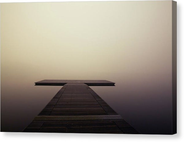Calm Brown Boardwalk In Fog - Canvas Print from Wallasso - The Wall Art Superstore