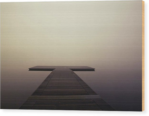 Calm Brown Boardwalk In Fog - Wood Print from Wallasso - The Wall Art Superstore