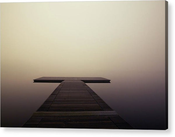Calm Brown Boardwalk In Fog - Acrylic Print from Wallasso - The Wall Art Superstore